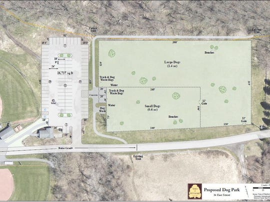 The town of Pittsford's new dog park will be in a large field adjacent to the Habecker Little League fields on East Street, adjacent to two of the town's nature trails.