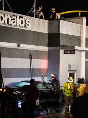Emergency crews responded to a two vehicle crash in the drive thru of the McDonald's located off of Quentin Road in North Cornwall Township on Wednesday, Sep. 6, 2017. The crash severed a gas line and between 75-100 people had to be evacuated from surrounding businesses.