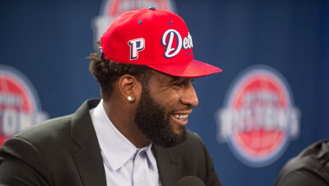 Andre Drummond speaks during a press conference at the Palace at Auburn Hills on Friday, July 15, 2016.