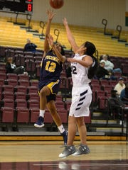 Pocomoke's Mykal Schoolfield with the shot against Urbana on Wednesday, Dec. 27. 2017 during the Governor's Challenge in Princess Anne, Md.