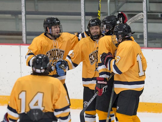 Celebrating a goal during the Oct. 15 ACHA game at