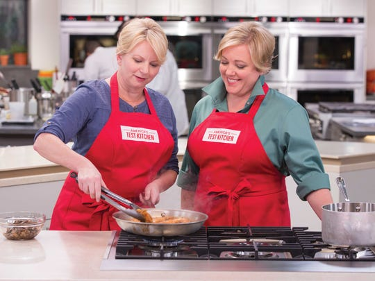 Bridget Lancaster and Julia Collin Davison cook in the test kitchen.