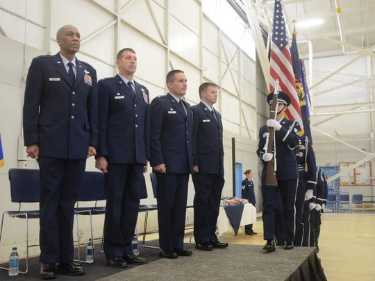 Brigadier General Leonard Isabelle, from left, Colonel Ronald Wilson, Colonel Bryan Teff and Chief Master Sgt. Trever Slater.
