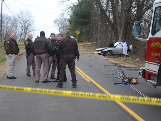 Two teenage girls died after their car left the road and hit a tree in Pennfield Township Thursday.