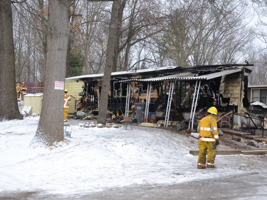 Firefighters from four departments battled a fire Sunday