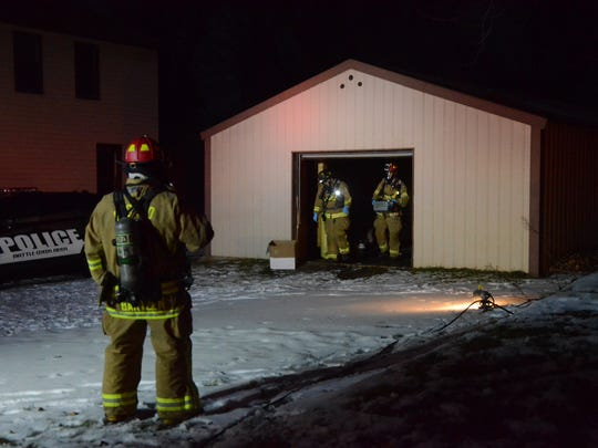 Battle Creek firefighters were called to a building on Maple Terrace to check material found hidden in a barrel.