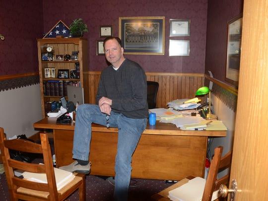 Paul Beardslee in his Marshall law office.