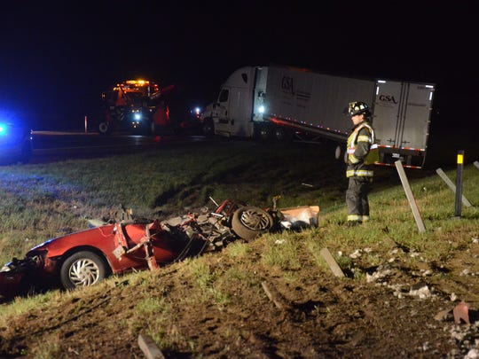 One man died in a car-semi crash on I-94 at I-69 early Friday.