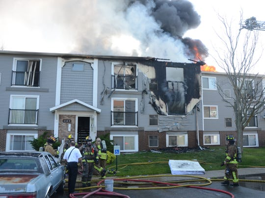 Firefighters attack the blaze at the Pines of Pennfield.