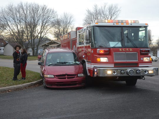 No one was hurt when this van attempted to pass a Battle Creek fire engine on the right just as it attempted a right turn during an emergency call on Nov. 30.