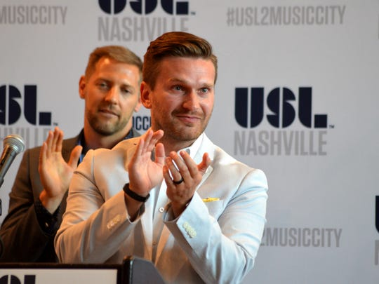 Nashville FC Board Member Christopher Jones gets emotional as he is announced as the general manager of the new pro team.