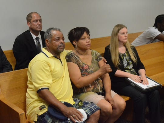 Jeff Williams and Tammy McCray, parents of Breon Williams, listen to the verdict.