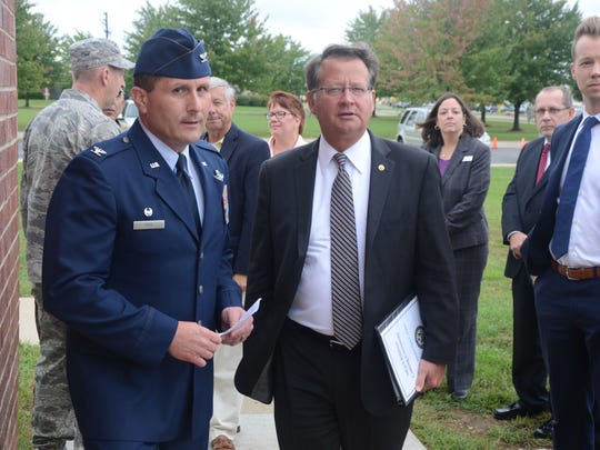 Senator Gary Peters is greeted by Battle Creek Air National Guard Base Commander Colonel Bryan Teff.