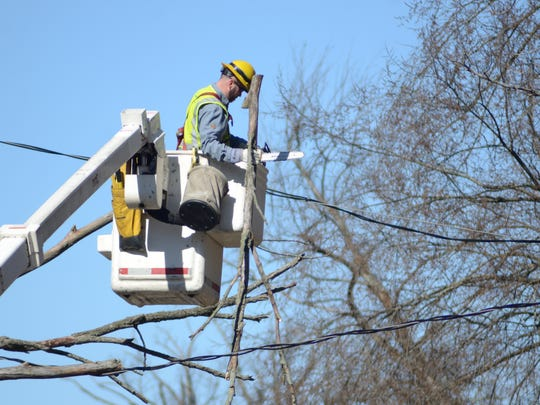 Scott Campbell of Consumers Energy cuts a tree which