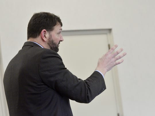 Defense attorney Brian Marsicovetere, who is defending murder suspect Jose Pazos, speaks at a hearing in Vermont Superior Court in Burlington on March 13, 2017.
