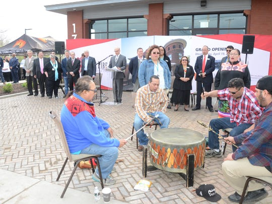 The opening ceremonies for The Fire Hub included a Tribal Drum song.