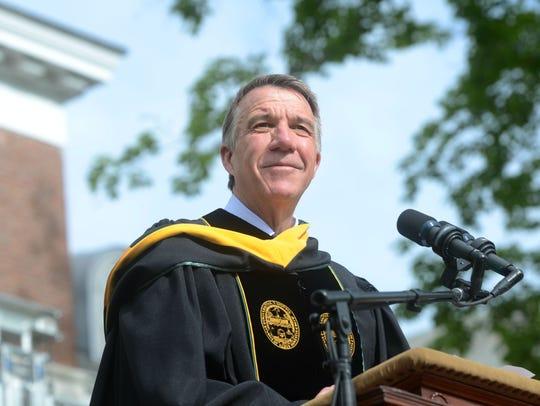Vermont Gov. Phil Scott addresses the University of