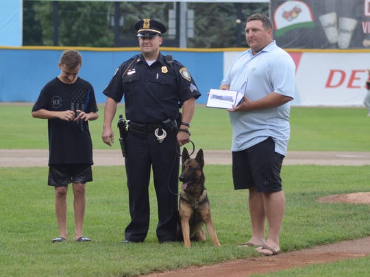 Battle Creek Sgt. Chad Fickle with his police dog,