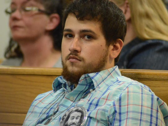 Jeremy Barroso wore a picture of his brother in the courtroom on Monday, Oct. 2, 2017.