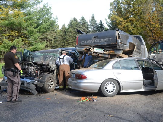 Eight people were hurt, most with minor injuries, in a three vehicle crash in Pennfield Township on Saturday.
