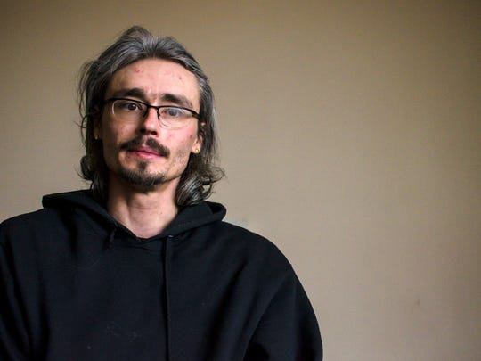 Steven Sawyer shares his story of his descent into addiction and his path to recovery in Shelburne on Wednesday, January 31, 2018,