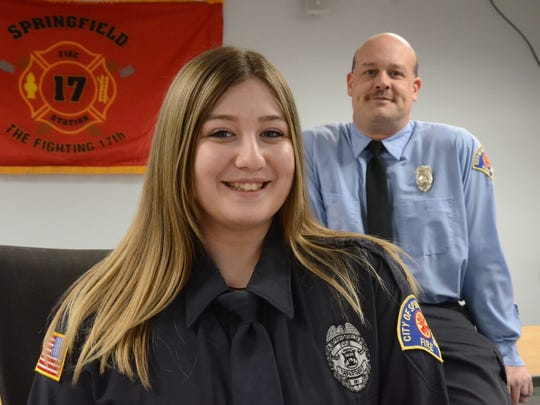 Everlee Chandler and her father, Capt. Chad Rench of the Springfield Fire Department.