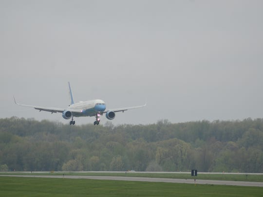 The vice presidential plane prepares to land in Battle Creek on Saturday.