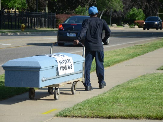 Bobby Holley said he invites controversy about his decision to use a casket in his anti-violence campaign.