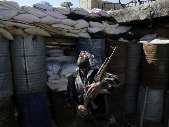 A Syrian rebel fighter from the Islamist Failaq al-Rahman
