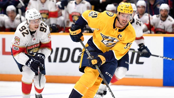 Predators defenseman Roman Josi (59) advances against the Florida Panthers during the second period in the second game of a preseason doubleheader Tuesday, Sept. 19, 2017, at Bridgestone Arena.