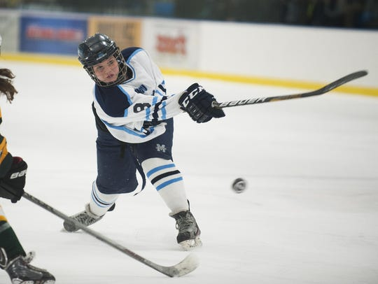 MMU's Audrey Scott (8) shoots the puck during the girls