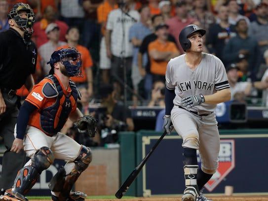 New York Yankees' Greg Bird hits a home run during