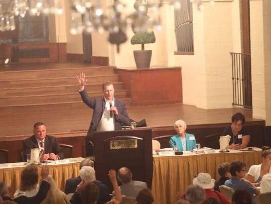 Republican Assembly Leader Chad Mayes speaks at a Riverside