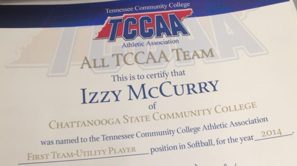 Roberson alum Izzy McCurry was recently selected to the Tennessee Community College Athletic Association's all-conference softball team.