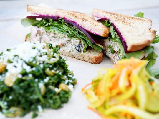 Rise Above Deli's smoked turkey salad sandwich made