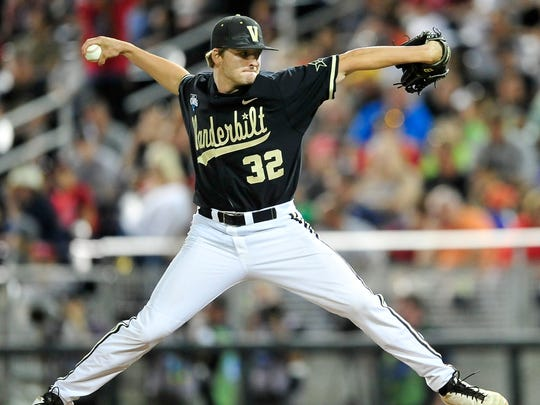 Vanderbilt pitcher Hayden Stone throws a pitch against