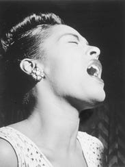 Billie Holiday is shown in this portrait from Down