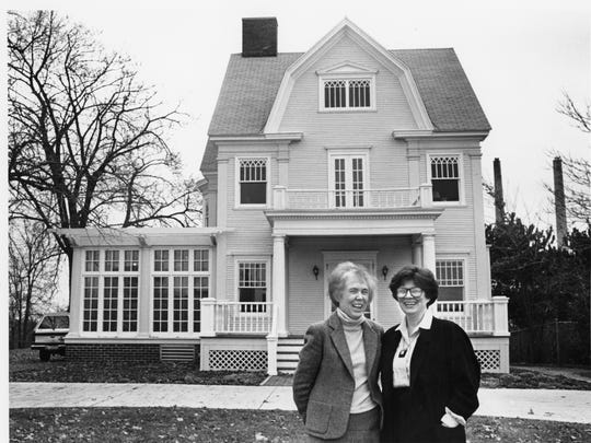 Gladys Beckwith, left, and Liz Giese in front of the