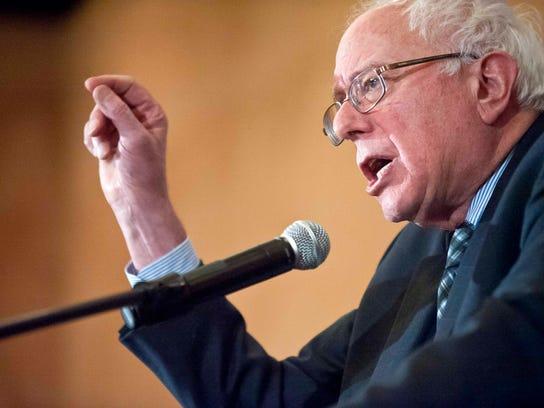Sen. Bernie Sanders speaks at Democratic Party headquarters