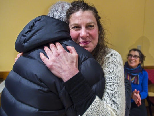 Burlington City Council candidate Genese Grill hugs a supporter on Tuesday, March 7, 2017. Grill, who based her campaign on her opposition to the proposed Burlington Town Center project, lost to incumbent Jane Knodell, a supporter of the project.