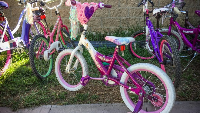 The girls who ride these bicycles, including the one with training wheels, are sex trafficking survivors, recovering at the La Casa del Jardin near Tijuana, Mexico.