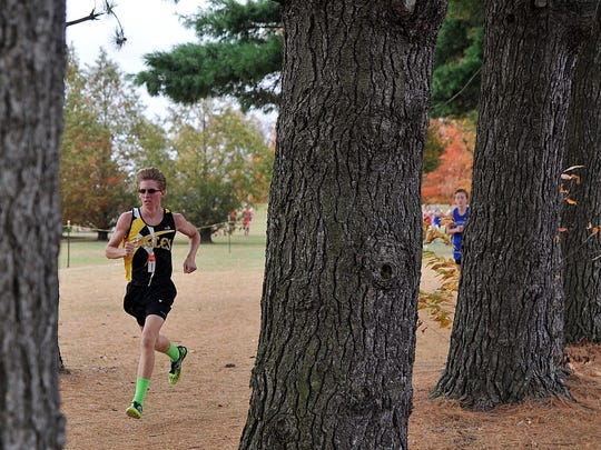Colonel Crawford's Brad Bauer during the boys Division III Cross Country District championships at Amann Reservoir in Galion.