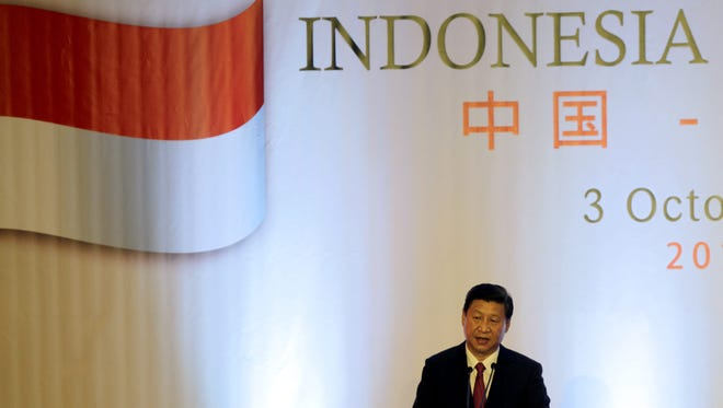 Chinese President Xi Jinping delivers a speech during the Indonesia-China Business Luncheon in Jakarta, Indonesia, on Thursday.