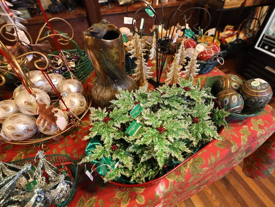 Holiday ornaments on display at the gift shop in the