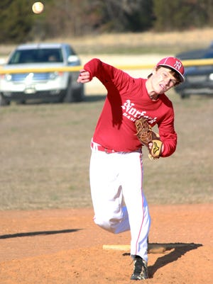 Norfork's Brett Sorters delivers to the plate against Calico Rock on Tuesday.