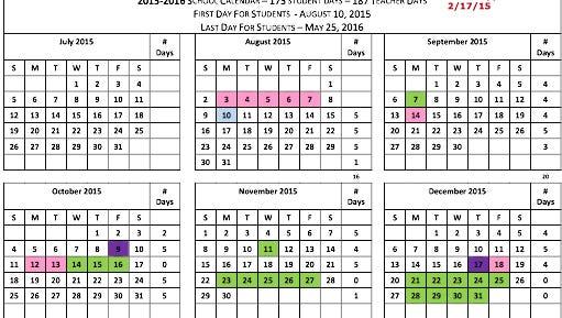 Elmore County Public Schools calendar