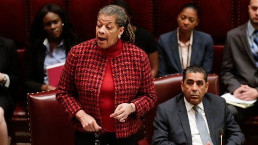 Sen. Ruth Hassell-Thompson, D-Bronx, speaks in the Senate Chamber at the Capitol on Thursday, Jan. 21, 2016, in Albany, N.Y.