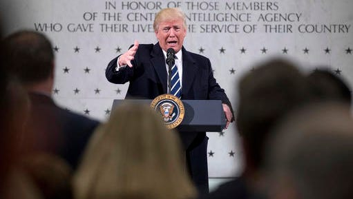 President Donald Trump speaks at the Central Intelligence Agency in Langley, Va., Saturday, Jan. 21, 2017.