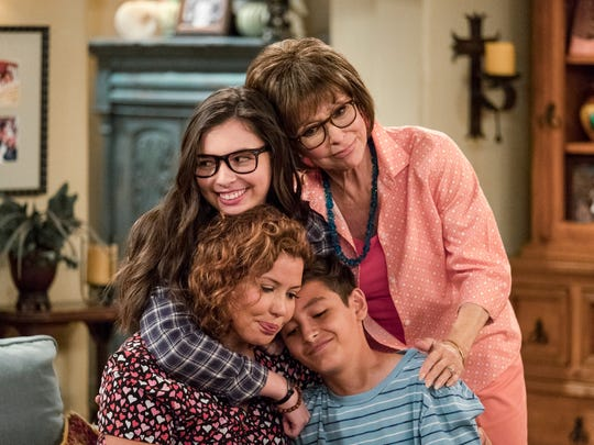 "Justina Machado, Isabella Gomez, Rita Moreno and Marcel Ruiz star in Netflix's ""One Day At A Time."""