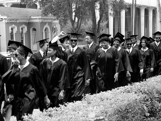 Some of the 105 Fisk University students march toward